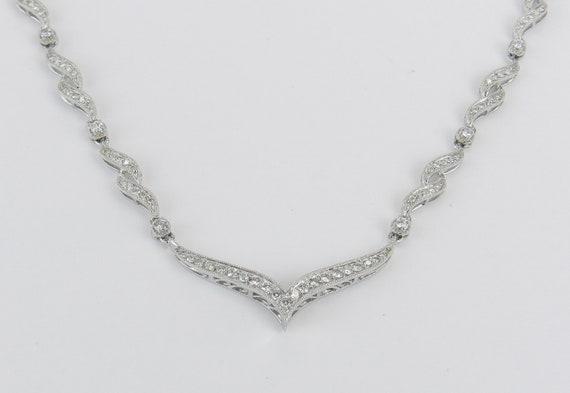 Diamond Necklace,14K White Gold Necklace, Wedding Necklace, Fashion Jewelry, Genuine Diamond V Necklace, Holiday Gift Idea