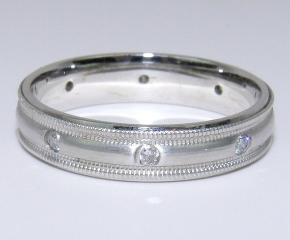 Diamond Eternity Wedding Ring Anniversary Band 14K White Gold Size 6.25