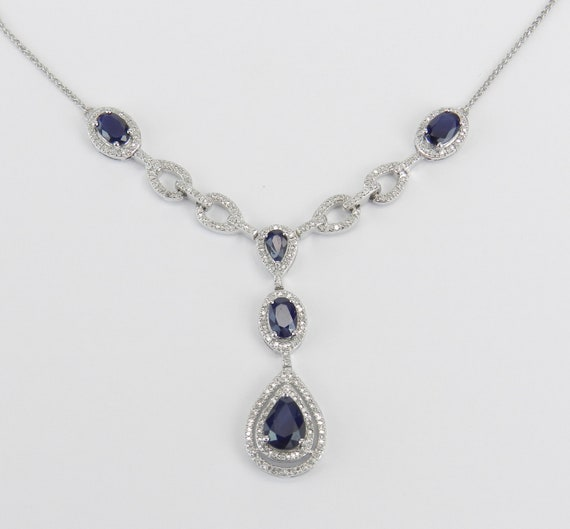 Sapphire and Diamond Lariat Necklace, 14K White Gold Necklace, September Birthstone Necklace, Sapphire Halo Necklace