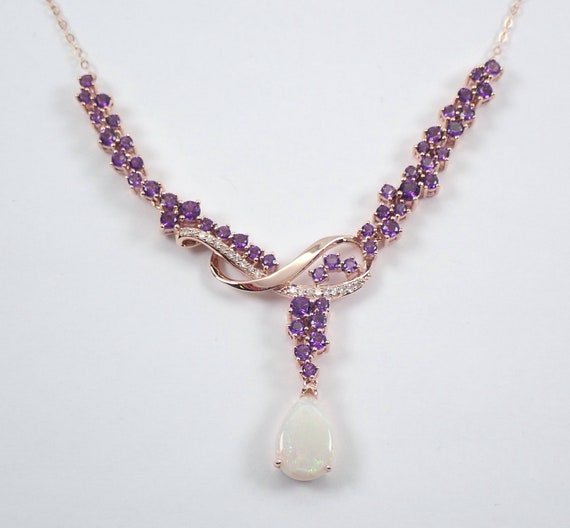 "4.70 ct Diamond Amethyst Opal Lariat Necklace Cluster Pendant 18"" Rose Gold Chain"