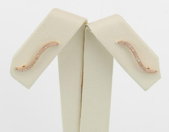 Diamond Ear Climbers Earrings Crawler Rose Gold Modern Wedding Gift Bridesmaid Present