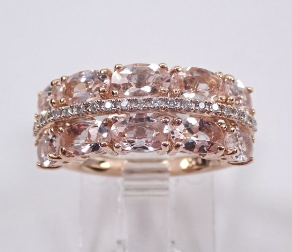 Morganite and Diamond Cluster Wedding Ring Anniversary Band 14K Rose Gold Size 7
