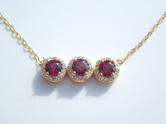 "Three Stone Garnet and Diamond Necklace Pendant Yellow Gold 17"" Chain January Birthstone Past Present Future"