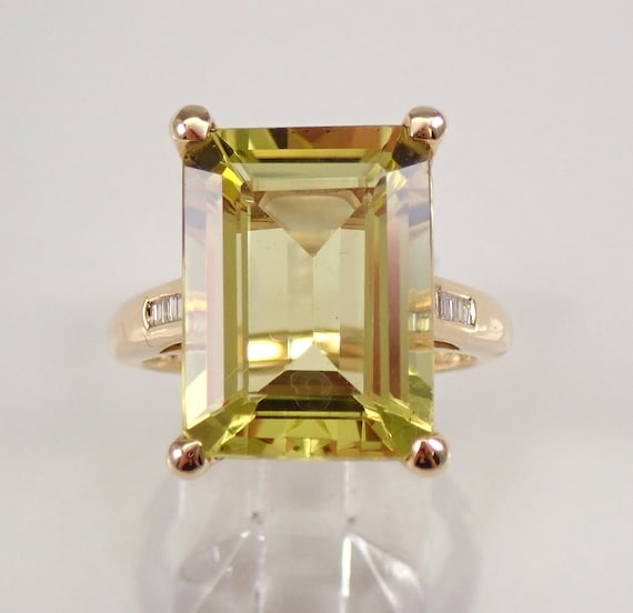 Lemon Quartz and Diamond Engagement Ring Emerald-Cut Solitaire Yellow Gold Size 7