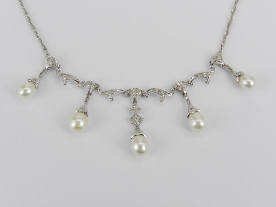 14K White Gold Pearl and Diamond Necklace Wedding Pendant Chain June Gift