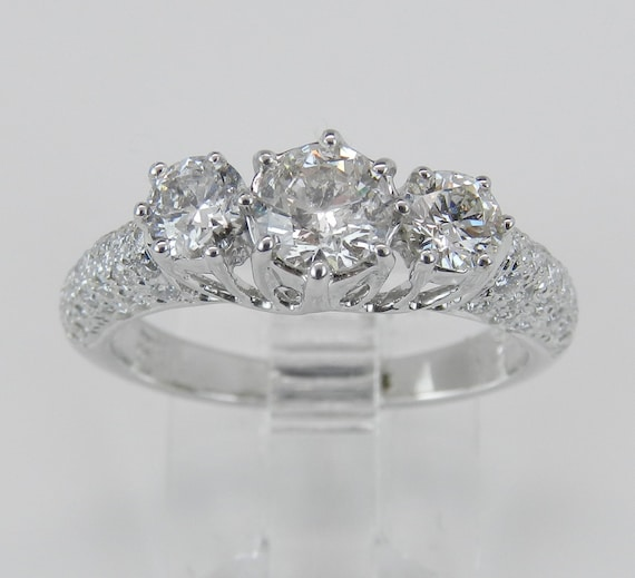 Diamond Engagement Ring 18K White Gold Three Stone Ring Round Brilliant 1.48 ct FREE SIZING