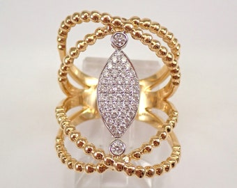 18K Yellow Gold Diamond Fashion Ring Crossover Band Size 6.5 Index Middle Finger