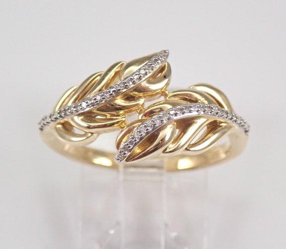 Yellow Gold Diamond Leaf Crossover Ring Modern Minimalist Jewelry Size 6.75 FREE Sizing