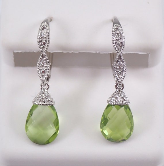 14K White Gold Diamond and Peridot Briolette Dangle Drop Earrings Leverback Clasp