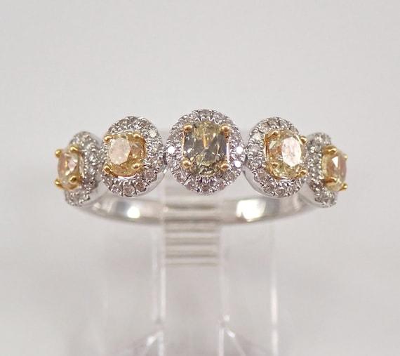Fancy Yellow Canary Diamond Wedding Ring Halo Anniversary Band 18K Gold Size 6.5 FREE Sizing