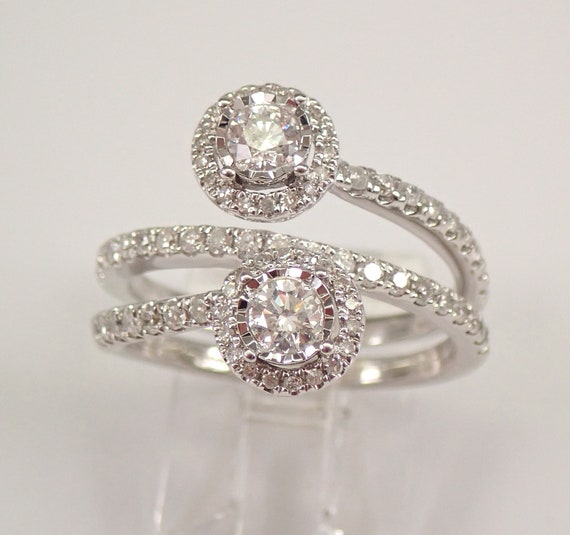 14K White Gold 1.00 ct Diamond Halo Bypass Ring Crossover Multi Row Band Size 7 FREE Sizing