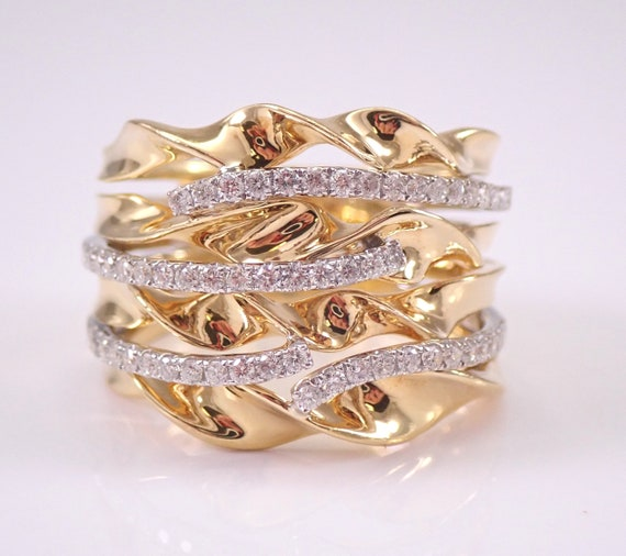 18K Yellow Gold Diamond Anniversary Ring Multi Row Crossover Wedding Band Size 6.75