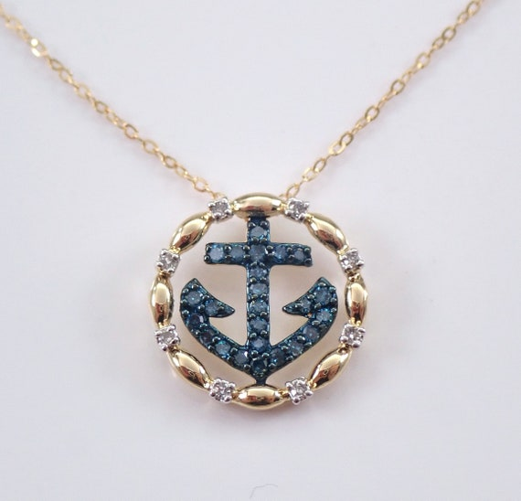 "Blue Diamond ANCHOR Pendant Necklace 14K Yellow Gold 18"" Chain Nautical Jewelry"