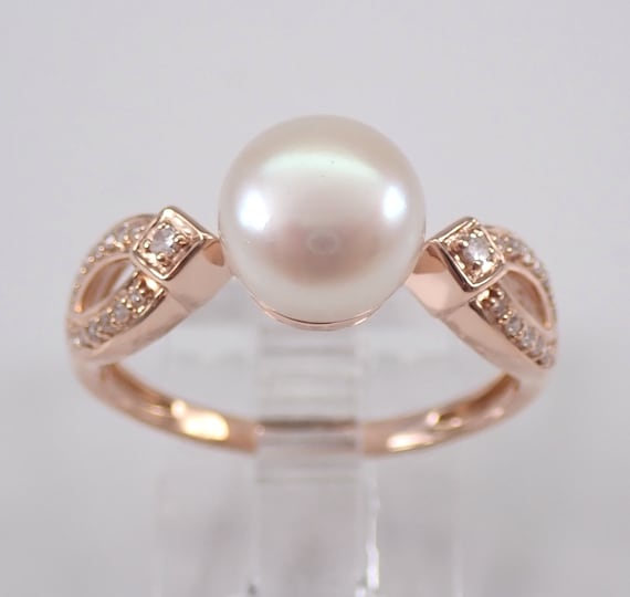 Diamond and Pearl Engagement Ring Promise 14K Rose Gold Size 7 June Birthstone Gemstone FREE Sizing