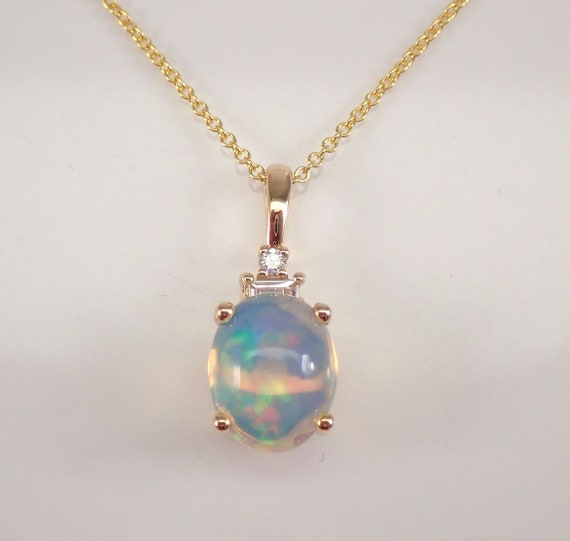 """14K Yellow Gold Diamond and Opal Pendant Necklace 20"""" Chain October Birthstone"""