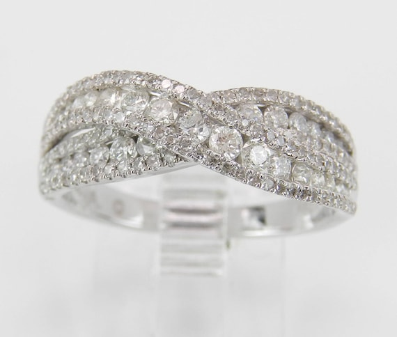 1.25 ct Diamond Wedding Ring Anniversary Band Crossover Ring White Gold Size 7 FREE Sizing