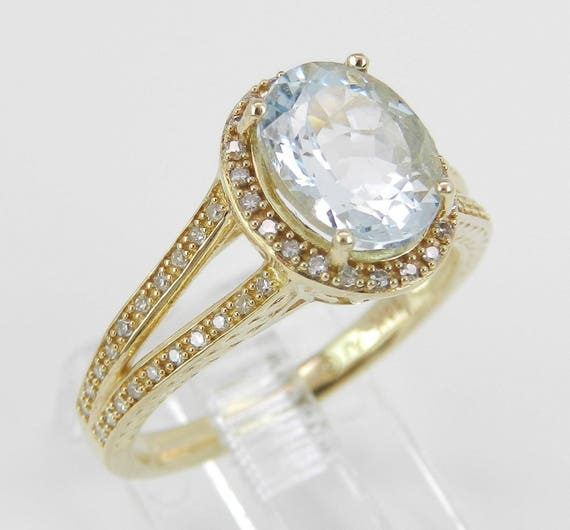 Diamond and Aquamarine Halo Engagement Promise Ring Aqua Yellow Gold Size 7