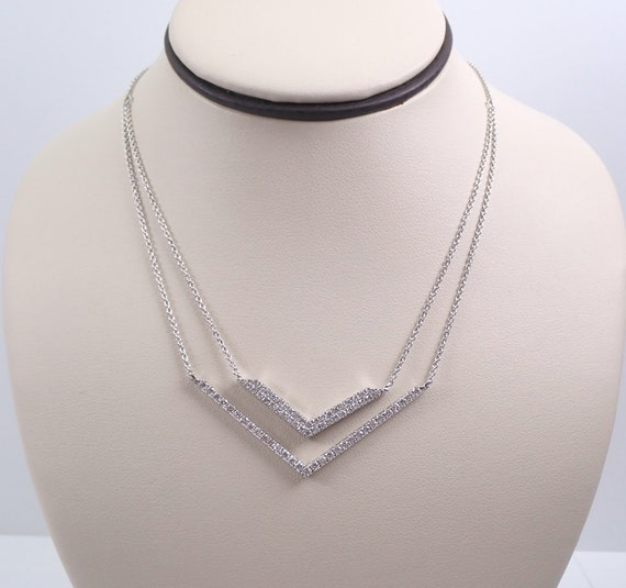 Diamond Necklace Geometric Double Drop Pendant 18K White Gold Adjustable Chain Modern Design