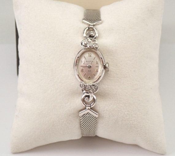 Antique Vintage 14K White Gold Diamond BULOVA Ladies Bracelet Watch