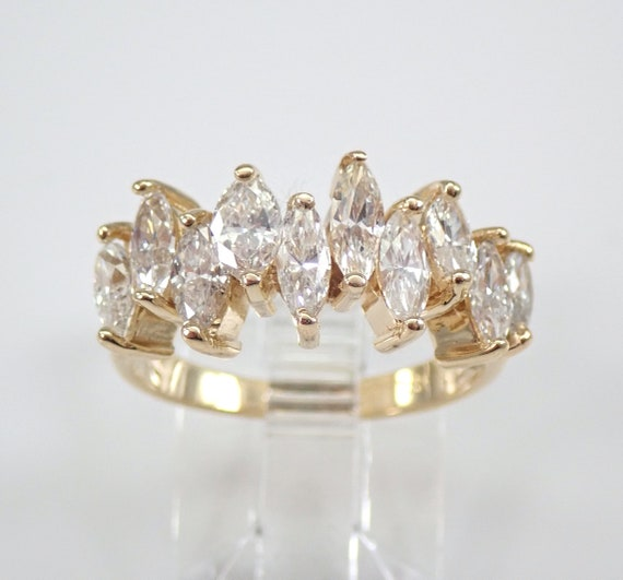 1.35 ct Marquise Diamond Wedding Ring Anniversary Band 14K Yellow Gold 6.25