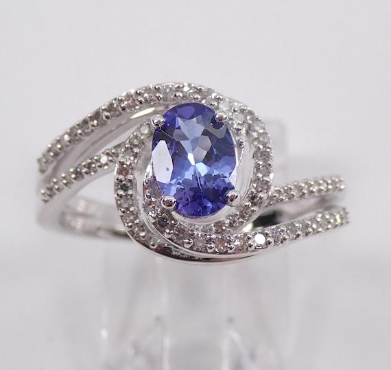 White Gold 1.10 ct Diamond and Tanzanite Engagement Ring Size 7 December Gem