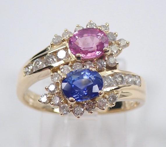 18K Yellow Gold Diamond and Blue and Pink Sapphire Bypass Ring Size 6 3/4