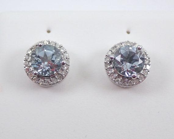 Aquamarine and Diamond Stud Earrings Halo Studs 14K White Gold March Birthstone