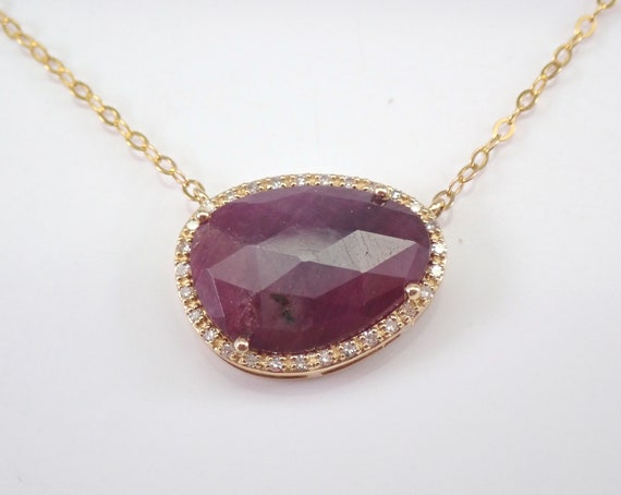 "Yellow Gold 2.70 ct Ruby Slice and Diamond Halo Pendant Necklace 17"" Chain July Gemstone"