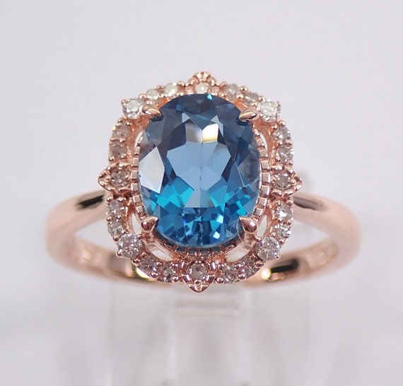 London Blue Topaz and Diamond Halo Engagement Ring Rose Gold Size 7 December Birthstone