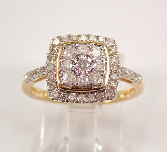Yellow Gold Diamond Engagement Ring Cluster Cocktail Size 6.25 FREE Sizing