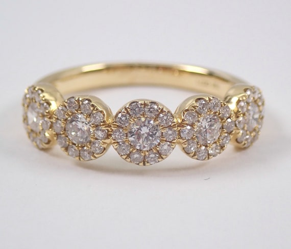 Diamond Halo Wedding Ring Stackable Anniversary Band 14K Yellow Gold Size 6.25