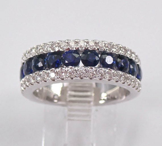 2.39 ct Sapphire and Diamond Wedding Ring Anniversary Band 18K White Gold Size 6.5 Stackable September Birthstone