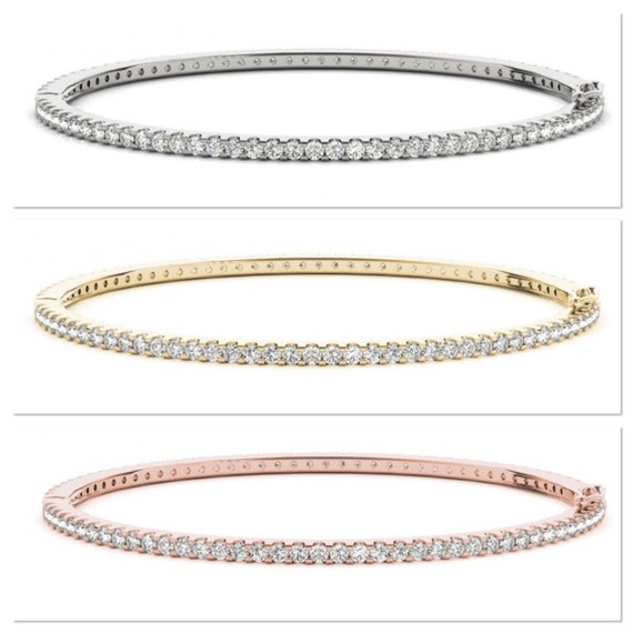 Diamond Bangle Bracelet, Diamond Eternity Bangle, Diamond Stackable Bracelet, 14K White Yellow Rose Gold Bangle