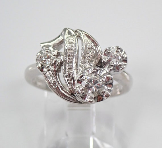 Antique Art Deco Diamond Cluster Ring 14K White Gold Size 6.5 Circa 1930's