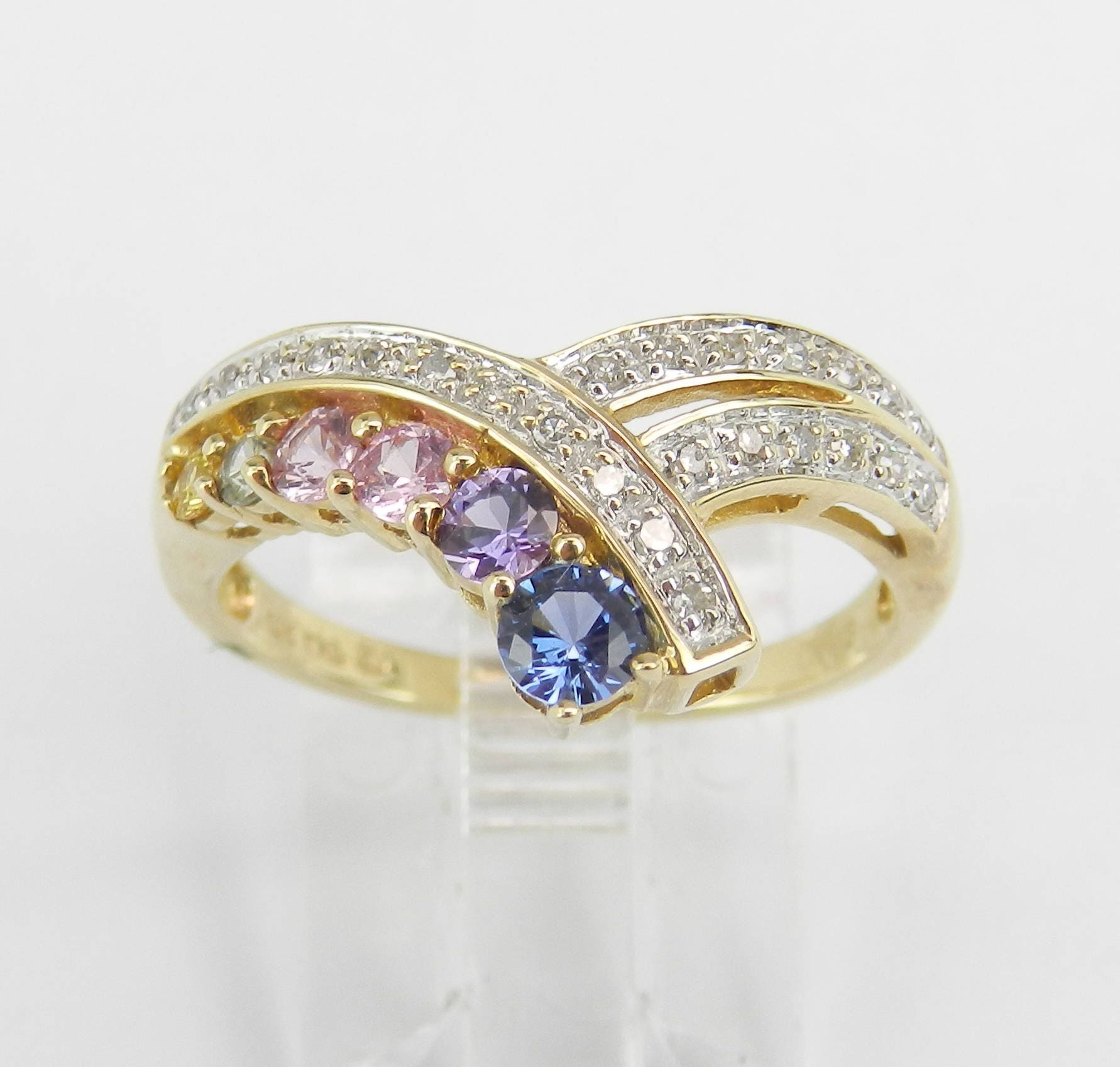 This is a picture of Multi Color Sapphire and Diamond Wedding Ring Anniversary Band