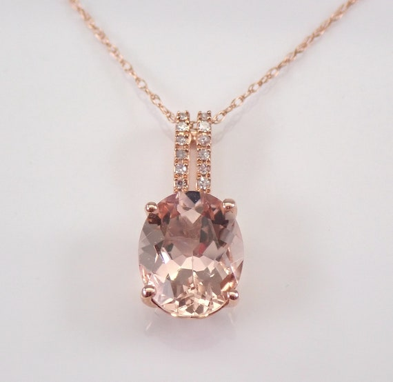 "Diamond and Morganite Pendant Slide Necklace 18"" Chain Rose Gold Wedding Gift"