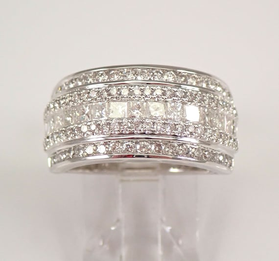 14K White Gold 1.50 ct Princess Cut Diamond Wedding Ring Anniversary Band Size 7 FREE Sizing