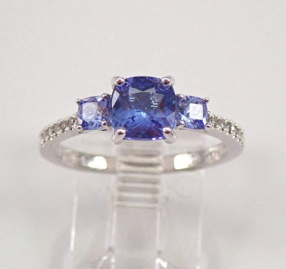 Diamond and Tanzanite Three Stone Cushion Cut Engagement Ring 14K White Gold Size 7 FREE Sizing