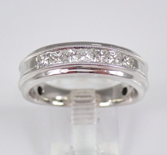 Mens 3/4 ct Princess Cut Diamond Wedding Ring Anniversary Band White Gold Size 10