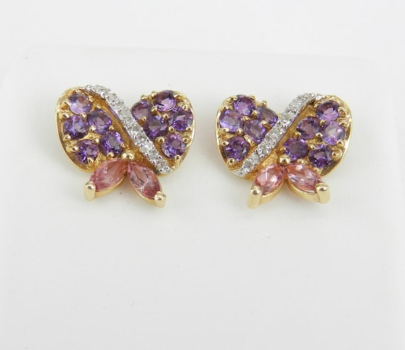 Amethyst Earrings, Pink Tourmaline Studs, Bow Tie Earrings, 14K Yellow Gold Studs, Diamond Stud Earrings, Purple Gemstone Earrings