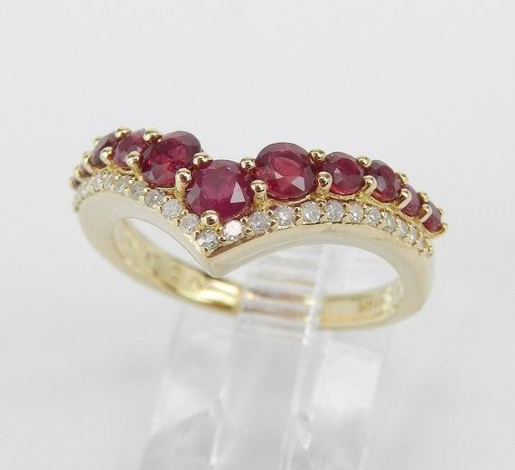14K Yellow Gold Ruby Ring, Ruby and Diamond Ring, Ruby Wedding Ring, Ruby Anniversary Band, Stackable Ring, July Birthstone