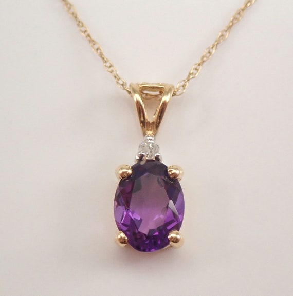 """Vintage Yellow Gold Amethyst and Diamond Pendant Necklace 18"""" Chain February Gemstone"""