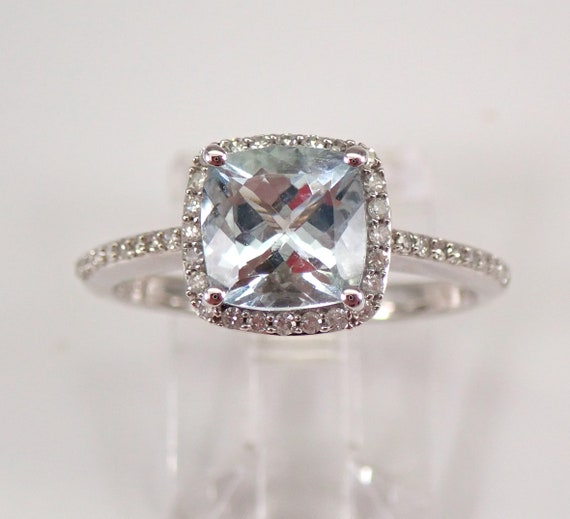 White Gold Diamond and Cushion Cut Aquamarine Halo Engagement Ring Size 7.25