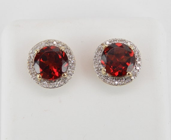 Garnet and Diamond Stud Earrings Halo Studs 14K Yellow Gold January Birthstone
