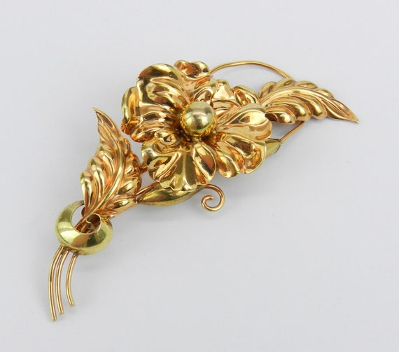 Antique Vintage Estate Yellow Gold Large Flower Stick Pin Signed Brooch Circa 1950's