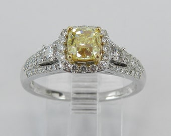 14K White Gold Canary Cushion Cut Diamond Halo Engagement Ring Size 7 Certified