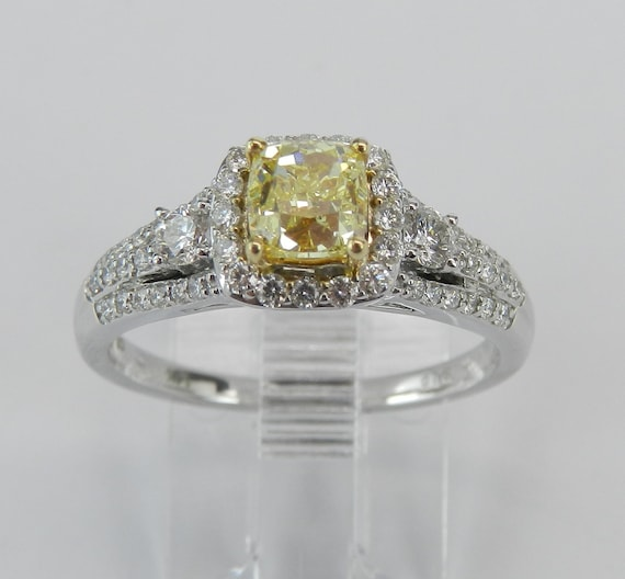 14K White Gold Canary Cushion Cut Diamond Halo Engagement Ring Certified