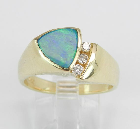 Diamond and Trillion Opal Inlay Right Hand Cocktail Ring 14K Yellow Gold Size 7