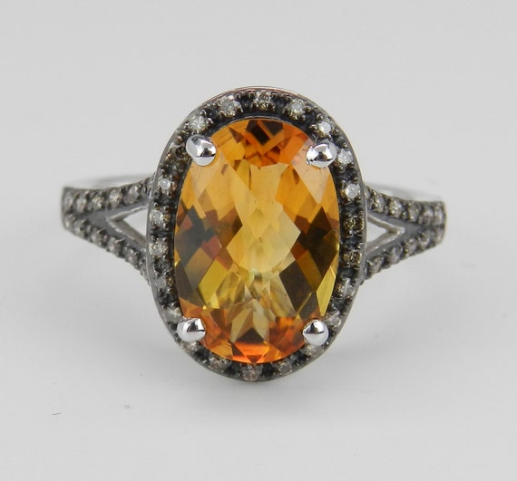 Citrine and Diamond Ring, Fancy Diamond Ring, Halo Engagement Ring, White Gold Citrine Ring, Size 7.25, November Birthstone