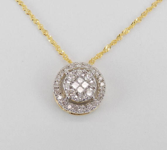 Yellow Gold 1/2 carat Diamond Halo Cluster Pendant Wedding Necklace Chain 18""